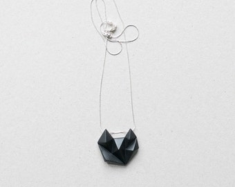 Black minimalist geometric triangle silver necklace. minimal fox cat animal shape.