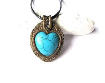Blue necklace, Heart necklace, Boho necklace, Statement necklace gift, Turquoise necklace, Turquoise jewelry, Gift for her, Women jewelry