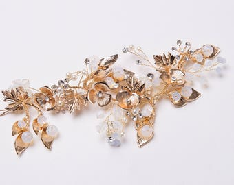 Gold Leaf Hair Vine, Bridal hairpiece , Gold Hair Piece, Wedding Hairpiece