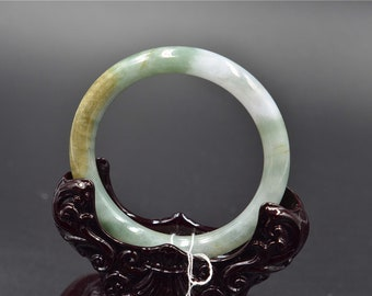 yellow grade A untreated real green  jade jadeite bangle bracelet 18105 size 51mm