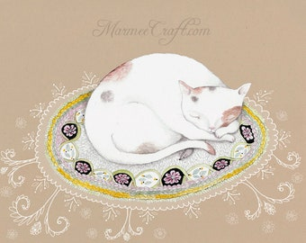 "MarmeeCraft cat on rug and lace art print, ""Little Vous"""