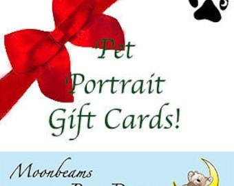 gift certificate for custom gift pet loss of pet custom pet memorial gift pet portrait unique pet painting pet art pet owner gift