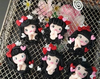1 pc Valentine girl with black hair- scrapbooking- polymer clay- Valentine clay- bow embellishment