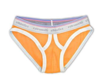 Retro ultra low rise briefs in orange, new rainbow jockey briefs, 1980s 1970s mens briefs, retro-futuristic y-fronts geek underwear