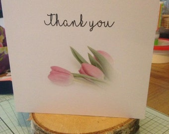 Thank you card, blank inner, any occasion, tulips