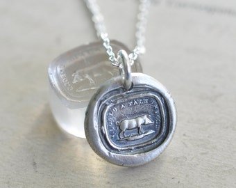 pig wax seal necklace ... I could a tale unfold - gift for the storyteller - silver antique wax seal jewelry