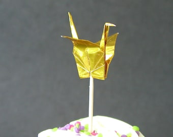 SALE - Set of 12 Gold Origami Paper Crane Cupcake Toppers Food Picks
