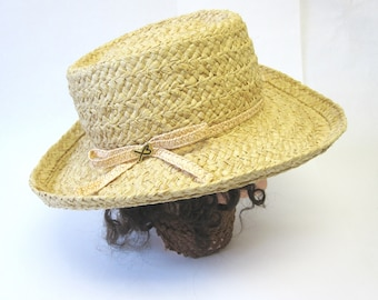 Western Hat Natural Straw Boater Millinery Womens