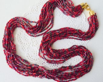 Torsade Glass Necklace Maroon Multi Strand  Vintage Deep Red Glass Beaded Necklace Vintage70's Retro Beaded Jewelry Costume Necklace