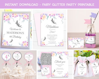 FAIRY PARTY PRINTABLE, Instant download Fairy Printable, Fairy Party, Fairy Garden Party, Print yourself Fairy, Fairy Decorations, Editable