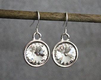 Clear Crystal Earrings, Crystal Drop Earrings, Crystal Dangle Earrings, Clear Earrings, Crystal Bridesmaid Earrings, Bridal Earrings