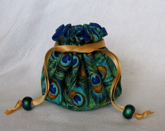 Jewelry Bag - Medium Size - Drawstring Jewelry Pouch - Jewelry Tote - FEATHERED FRIZZLE