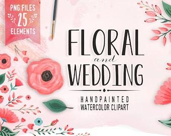 Watercolor Flower Clipart, Wedding floral Clip art, Floral Bouquet Clipart, wedding flowers clip art, Watercolour Hand Painted Clip Art