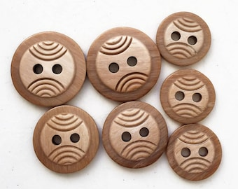 tan frown face stacked carved buttons--three sizes--lot of 7