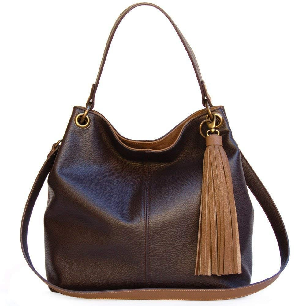 Leather hobo bag crossbody for women Handmade brown shoulder everyday purse bags Intuitive urban style. Winter fashion gifts. Veronik Ganza