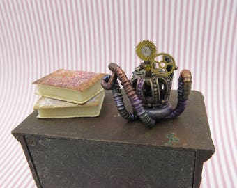 Steampunk skull with tentacles in 1 inch scale
