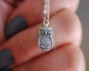Owl Necklace - Solid 925 Sterling Silver Auspicious Feng Shui Wisdom Symbol Charm  - Insurance Included
