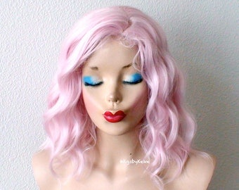 Pink wig. Lace front wig. Pastel wig. Short wig. Beach waves hairstyle wig. Durable heat friendly wig for daily use or Cosplay.