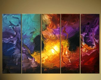 """Modern Abstract Painting Colorful Acrylic Art on Canvas by Osnat - MADE-TO-ORDER - 60""""x36"""""""