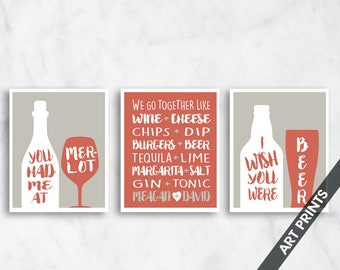 We Go Together Like (Personalize Couple Names) Set of 3 - Art Print (Featured in Rusty Red and Storm) Funny Couple Alcohol Prints