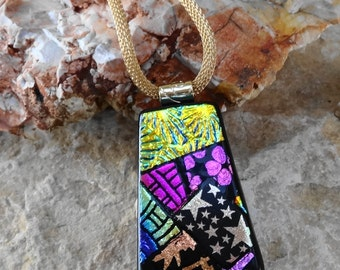Dichroic Glass Necklace, Dichroic Jewelry, Picasso Pendant,  Fused Glass Pendant, Zentangle Style Glass Pendant -Flowers and Stars