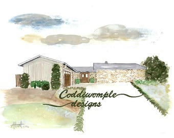 Custom Watercolor House, Church or Landscape Painting