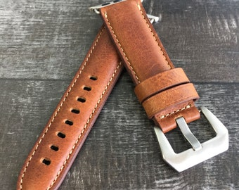 Premium Italian Toscana Leather Watch Band for Apple Watch Series 1,2 & 3 |38mm/42mm |Classic Brown