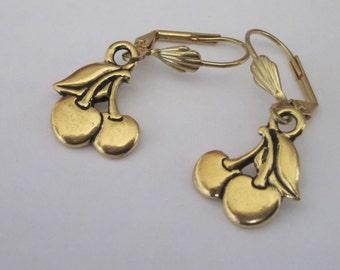 Gold Cherry Earrings, Fruit Jewelry, Small Metal Dangle, Gold Leverback, Lightweight Dangle, Cherry Earrings