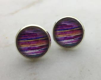 Bright striped glass dome stud earrings. 14mm with surgical steel and nickel free posts