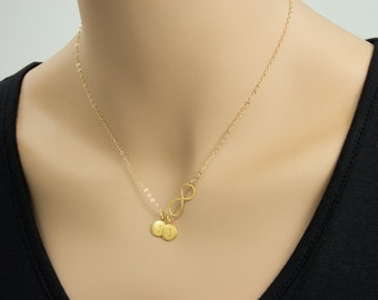 Infinity Love 24K Gold  Necklace - 2 initials, Personal Initial,  Eternity Circle, Infinity Link,