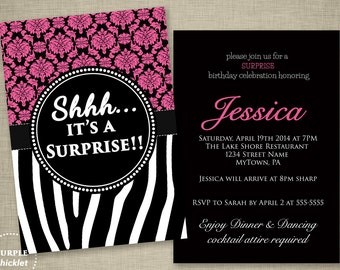 Pink Surprise Birthday Party Invitation Elegant Pink Adult Party Invite Zebra Stripes Damask Double Sided Printable Invite JPEG file (87a)