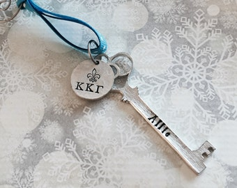 Kappa Kappa Gamma Ornament - Kappa Key Ornament - Sorority Ornament - Greek Ornament - Home Decor - Kappa Kappa Gamma Sorority Gift