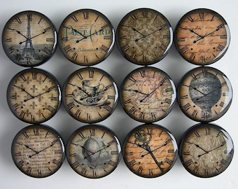 Romantic Clock Knobs, Paris Themed Knobs, Antique Clock Drawer Knobs - Wood Knobs- 1 1/2 Inches