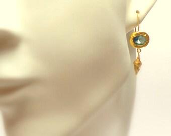 Gold Earrings - 18K Gold Earrings - Blue Topaz Gold Earrings - Seeds Collection - Free Shipping!!