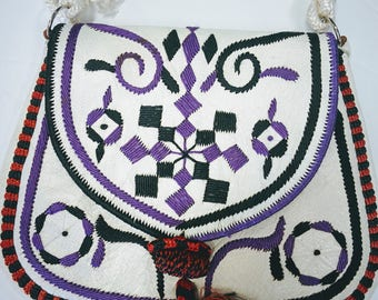 Vintage One of a Kind Boho Hippie Leather embroidered First Nation  Bag Purse