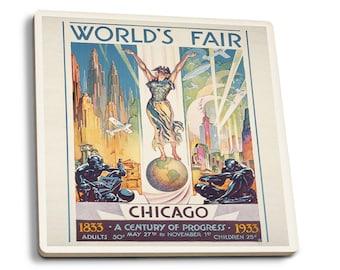 Chicago Worlds Fair - Woman on Globe - Vintage Ad (Set of 4 Ceramic Coasters)