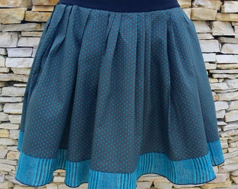 Designer Brown and turquoise skirt skirt in cotton and linen woman