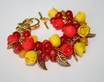 SALE 40% Polymer clay jewelry. Handmade polymer clay flower bracelet.