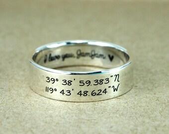 Latitude Longitude Ring, Sterling silver latitude longitude, Personalized coordinates and custom engraving, Coordinate Ring,  Engraved Ring