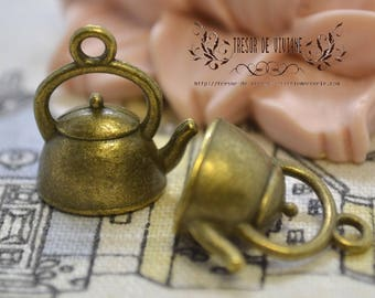 set of 6 QWP033 water bottle, charms, Bronze, teapot, tableware