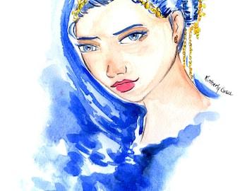 Ice Queen Cometh Print, Print Blue Hair Girl, Ice Queen Girl, Ice Queen Girl Print, Blue Girl Art Print,Blue Hair Art Print