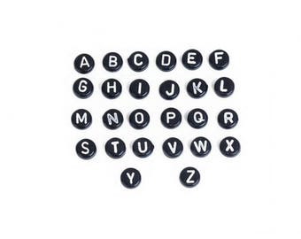 260 beads black and white Alphabet letters