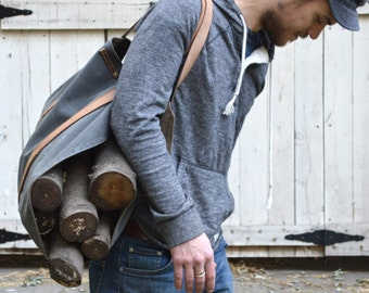 Shanty Man, Waxed Canvas Tote, Waxed Canvas Bag, Waxed Canvas Firewood Carrier, Shanty Man Carrier, Waxed Canvas Log Carrier, For Him