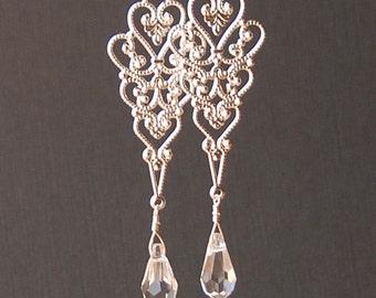 Filigree Chandelier Earring, Long Earring with Crystal Teardrop in Sterling Silver, Bridal or Bridesmaid Earring, Long Wedding Earring