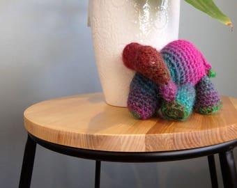 Stuffed Crochet Toy, Water Buffalo, Pink Green Brown Childrens Handmade Teddy, Amigurumi Animal  Plushie