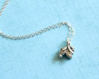 Itty Bitty Pomeranian Necklace in Sterling Silver
