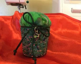 Kcup pincushion in green batik