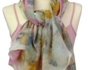 Art Scarf, Pink Floral Scarf ~ 100% silk scarf - accessories, colorful happy print scarves, shawl, cover-up, Eco Print, Pink Silk Shawl,