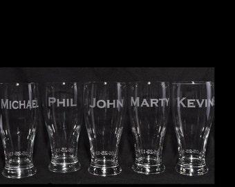 Custom Pub Pilsner Glasses Sets for Groomsman Gifts, Best Man, Groom, HomeBrew  by Jackglass on Etsy