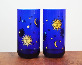 Libbey Cobalt Blue Celestial Glass Tumblers, Set of 2 Sun, Moon and Stars Designs Barware